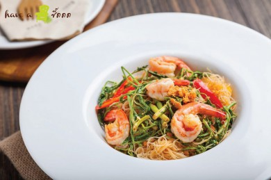 Rice Noodle Stir-Fried with Shrimp Paste and Water Mimosa